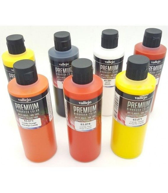 Kit Paints Airbrush Premium Vallejo Real Fire (7ud x 200ml)