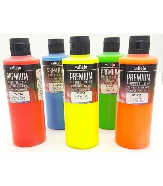 Kit de Pintures Aerògraf Fluorescents Premium Vallejo (5tud x 200 ml)