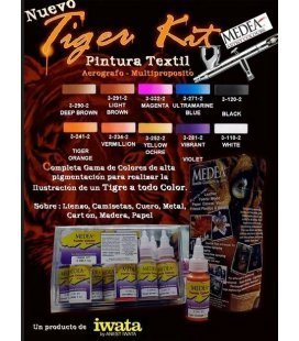 Set TIGER Paintings, Textile Airbrushing (10ud x 28ml)