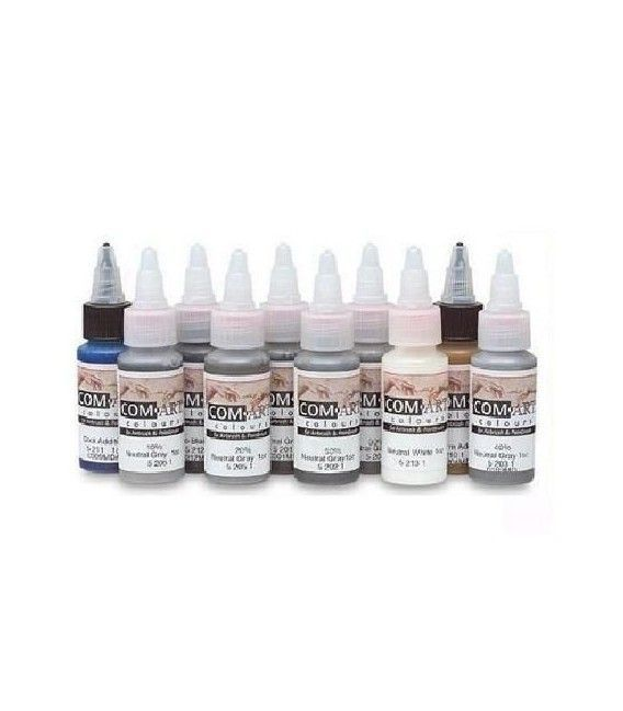 Set Pinturas Grises Com Art - KIT H (28ml x 10ud)